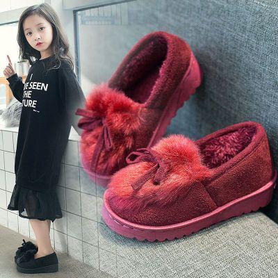 親子鞋秋款新款女童鞋外穿兒童鞋女棉拖鞋春秋韓版公主鞋雪地靴女 諾妮夢