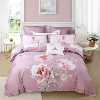 水星家纺 全棉贡缎花卉活性床单四件套双人 粉艳霓裳