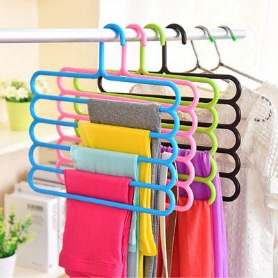 弧威(HUWEI)五層多功能褲架多層創意涼曬毛巾床單衣架收納神器