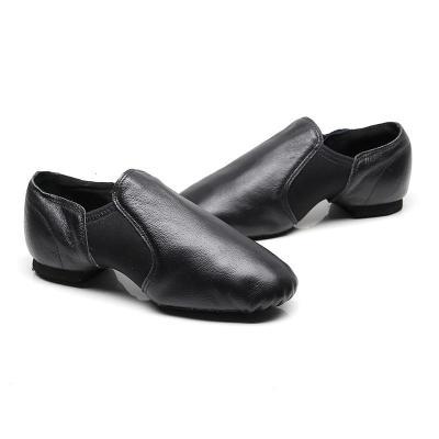 黑色爵士舞鞋女软底练功鞋教师鞋带跟民族民间中国舞真皮男跳舞鞋 黑色(建议选大一码) 29
