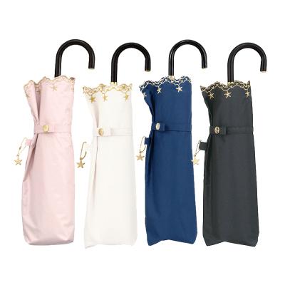 【日本進口】WPC刺繡星星雨傘 傘骨玻璃纖維 99%防紫外線UVcut 有涂層晴雨兩用遮陽傘太陽傘 輕便彎鉤柄3折傘