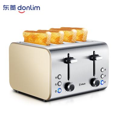 东菱(Donlim)多士炉DL-8590A烤面包机家用商用不锈钢机身4片早餐机不锈钢多槽