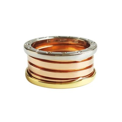 【正品二手95新】寶格麗 B.ZERO1系列 18K三色金四環彈簧戒指 AN857650 尺寸 61號