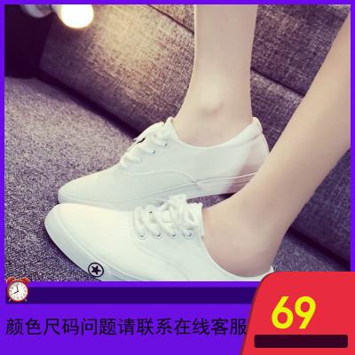 2019春季新款小白鞋女鞋学生布鞋平底帆布鞋白色板鞋百搭白鞋