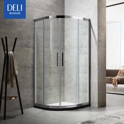 德立淋浴房整体简易不锈钢移门淋浴房定制弧扇形玻璃推拉浴室C9