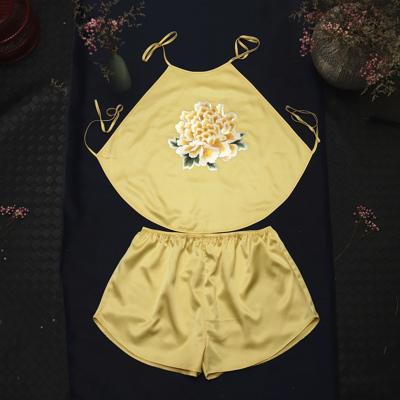 金色 均碼適合80--140斤 絲綢新款肚兜女古風漢掛脖式情趣真絲睡衣桑蠶絲古裝性感成人內衣