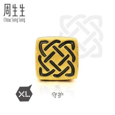 周生生(CHOW SANG SANG)足金Charme系列守護XL串珠情侶黃金手鏈86523C定價