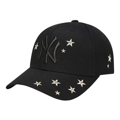 MLB正品棒球帽NY情侶款鴨舌帽子可調節嘻哈帽子星星NY遮陽帽休閑運動帽子