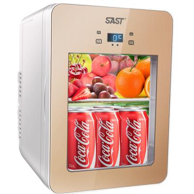 先科(SAST)22L車載冰箱制冷車家兩用小型家用透明玻璃 學生宿舍便捷式微型小冰箱冷暖箱 電子冰箱 單核制冷 香檳金