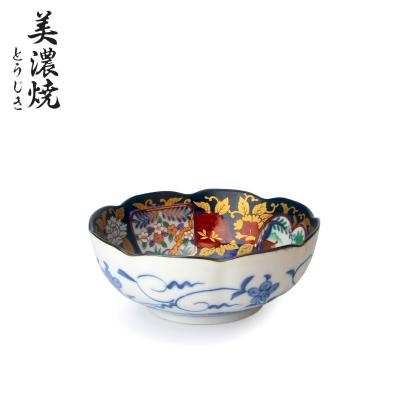 美浓烧日本陶瓷碗家用和风餐具日式吃饭汤碗拉面碗6.5英寸中平碗