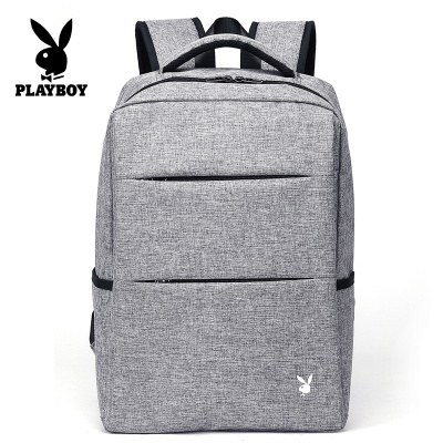 花花公子男士双肩包简约休闲书包商务大容量时尚潮流旅行电脑背包