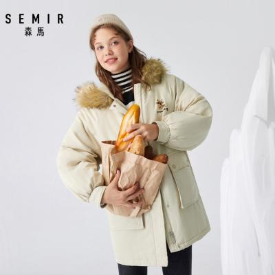 Semir森马2019冬新款棉服女加厚中长款毛领连帽工装风棉衣植绒印花外套