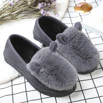 tyburn秋冬季加绒毛毛鞋女韩版平底保暖豆豆鞋女兔耳朵学生孕妇鞋