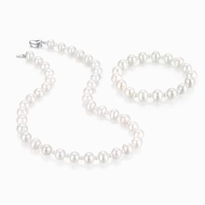 鑫萬福 新品 精工鑲嵌天然淡水珍珠兩件套/珍珠套裝/項鏈手鏈