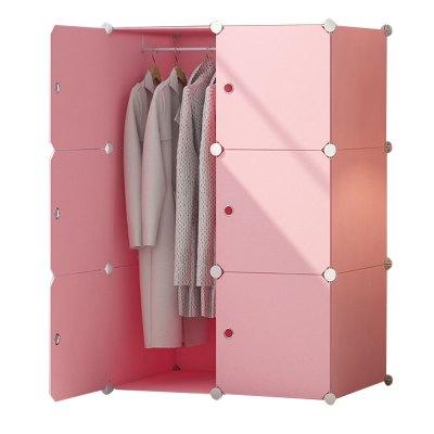 简易衣柜挂出租房用现代简约大学生宿舍单人布衣橱仿实木收纳柜子创意家用组装衣柜