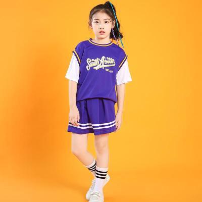 兒童演出服啦啦隊服裝會啦啦表演服嘻哈街舞潮裝舞蹈服 女童紫色【關注店鋪送足球襪】 110cm