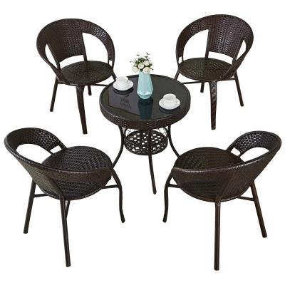 簡易陽臺小茶桌家用小戶型喝茶桌客廳藤編小茶幾桌椅組合玻璃圓形 弧威弧威(HUWEI)