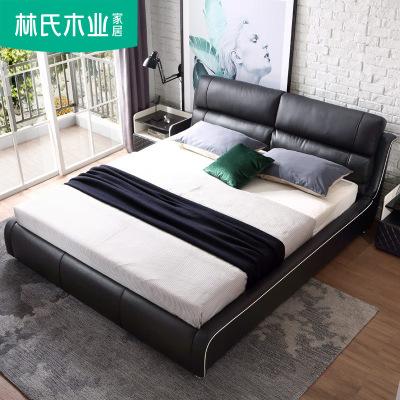 林氏木业1.8米北欧轻奢床真皮床简约现代主卧双人床婚床家具RAB2A