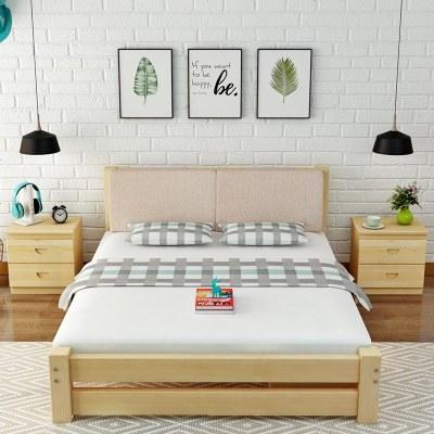 杞沐實木床1.5米松木雙人床1.8米木板床現代簡約靠背經濟型1.2m單人床