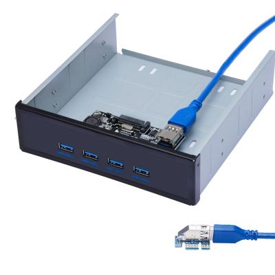 """魔羯 MOGE MC2001 光驱位USB3.0四口面板 PCIE转USB3.0扩展卡 转接卡(适用于光驱位5.25"""")"""