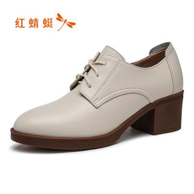 紅蜻蜓女鞋2019秋季新款時尚簡約小皮鞋女高跟粗跟深口單鞋女