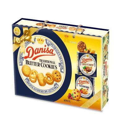 皇冠(Danisa) 進口餅干 丹麥皇冠曲奇餅干908g(內贈皇冠曲奇90g*2盒) 共1088g 年貨禮盒 過年禮品