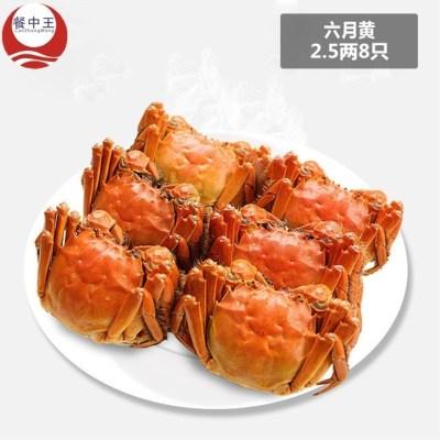 餐中王陽澄東湖六月黃大閘蟹2.5兩8只裝鮮活螃蟹六月面拖童子蟹