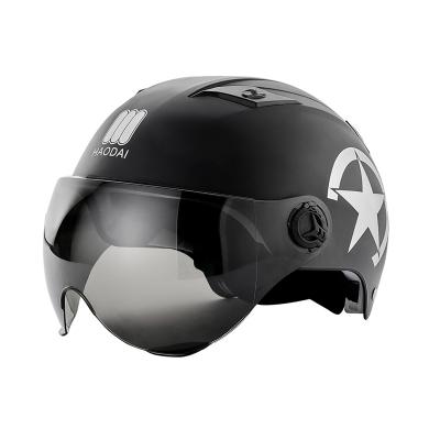 淘爾杰TAOERJ夏季電動車頭盔安全帽男女可愛輕便式個性防曬頭盔【茶鏡黑色】