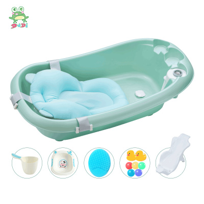 DuDi/青蛙嘟迪 嬰童浴盆寶寶洗澡盆嬰幼兒感溫浴盆可坐可躺澡盆新生兒大號兒童沐浴盆配懸浮墊套裝 綠色
