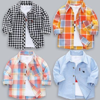 2020新款兒童襯衣純棉薄款寶寶格子上衣秋款洋氣童裝男童襯衫長袖