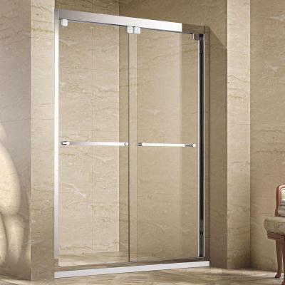 定制淋浴房 一字型隔斷干濕分離浴屏阿斯卡利衛生間玻璃推拉簡易沐浴房 黑色回形吊片