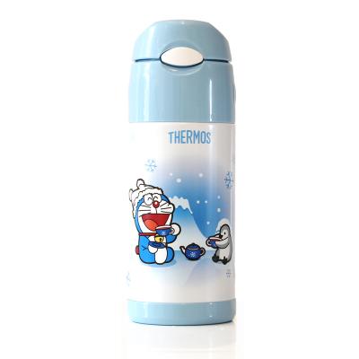 膳魔師THERMOS DRM系列高真空不銹鋼兒童吸管保溫杯可愛哆啦A夢兒童水壺FFI-403 DRM001