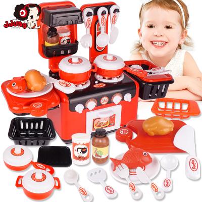 女孩男孩玩具冬己兒童趣味多功能廚房爐具燈光過家家做飯仿真兒童玩具FDE376(410*390*170)塑料材質,3歲以上