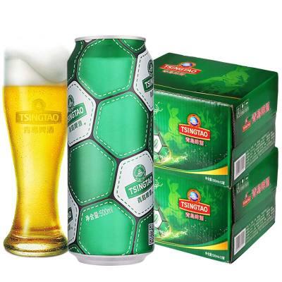 青島啤酒(TSINGTAO)足球罐啤酒10度500ml*12聽 2箱實惠組合裝