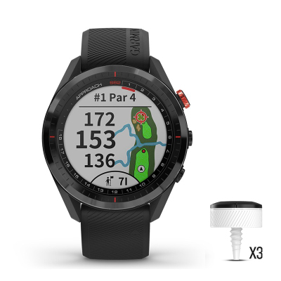 Garmin佳明Approach S62高爾夫GPS觸控智能運動手表信息陶瓷表圈商務男腕表 黑色(含CT10揮桿傳感器)
