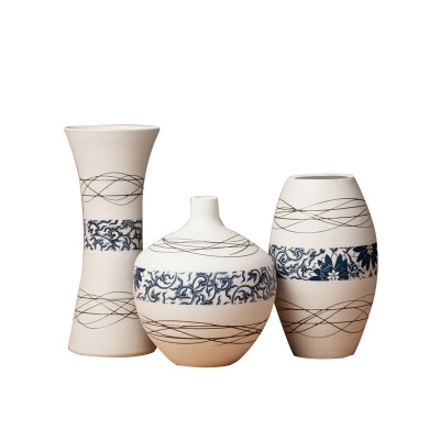 景德鎮高溫陶瓷手工刻陶瓷花瓶套裝 配家具城裝飾品 中式家裝送禮佳品創意簡約