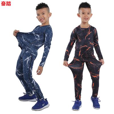 兒童運動緊身衣訓練套裝迷彩健身服籃球足球打底彈力服速干男薄款