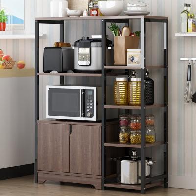 西利尹 廚房置物架落地多層收納架多功能調味品置物架微波爐架子