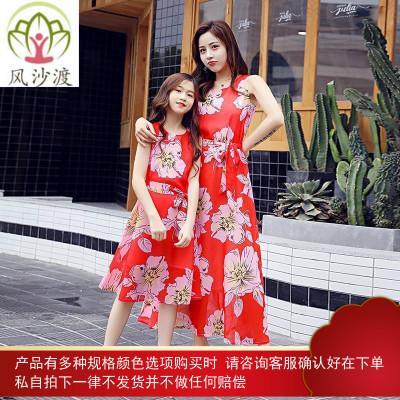 不一样的亲子装夏装母女雪纺连衣裙洋气网红潮沙滩裙时尚图片件数为展示