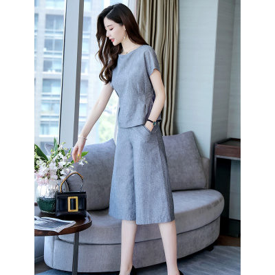 闊腿褲職業套裝女士夏裝2020新款女裝時尚氣質亞麻棉麻洋氣兩件套 暖青匯