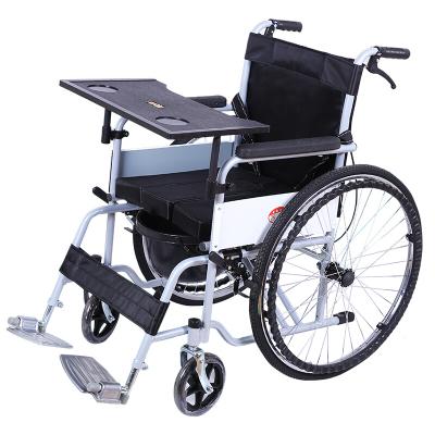 輪椅車折疊輕便攜老年人殘疾人手推動代步車帶坐便餐桌便盆桶剎車