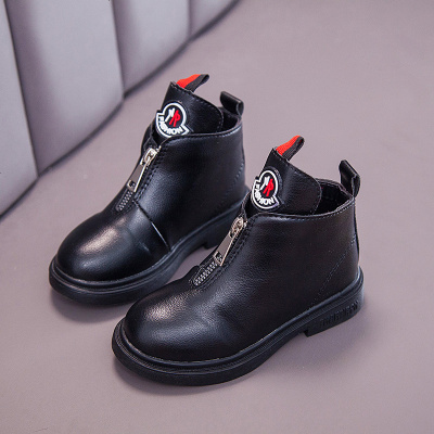 2019新款女童靴子儿童秋冬公主短靴英伦风百搭加绒马丁靴女男
