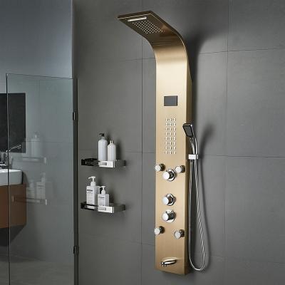 闪电客淋浴屏智能恒温淋雨花洒套装明装挂墙式洗澡喷头沐浴器 四功能拉丝款(带置物架)