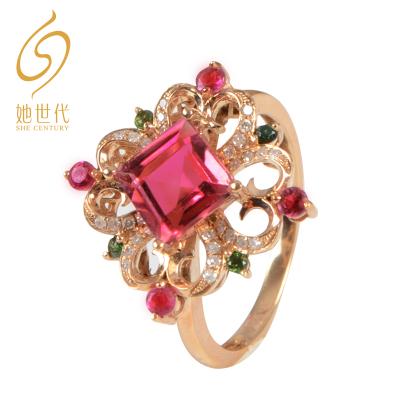 SHE CENTURY  8A級天然碧璽18K玫瑰金鑲鉆戒指女 送禮佳品
