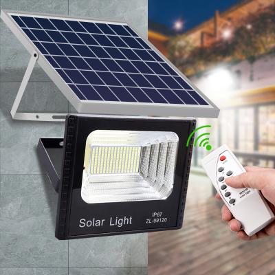 太陽能燈投光燈景觀庭院燈室內外家用防水照明帶遙控新農村路燈 太陽燈戶外燈光控感應燈高亮款-光控+遙控(線長4.5米)