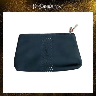 圣羅蘭(YSL)黑色鉚釘皮質掛件化妝包