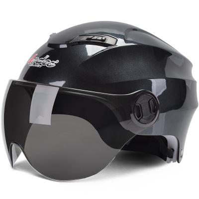 電動摩托車頭盔男電瓶車女士夏季半盔四季通用安全帽防曬個性可愛 灰色配反光板 均碼