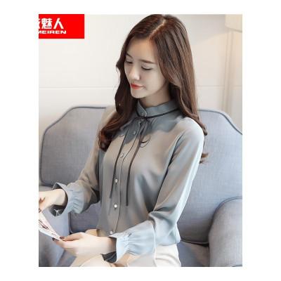 依魅人襯衫女2020春款韓版女立領細帶長袖雪紡衫打底衫