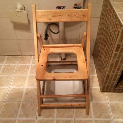 折疊便攜老人實木坐便椅孕婦坐便凳子座便器馬桶櫈黎衛士廁所凳大便 免安裝40高寬靠背椅