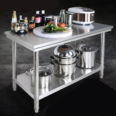 雙層不銹鋼作臺廚房專用工作臺切菜桌子家用臺面飯店商用打荷臺